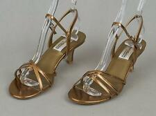 Women's Private Collection DYEABLES Bronze Strappy Evening Sandals Size: 6B VGC