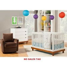 3-in-1 Convertible Crib, Contemporary Fixed Side Nursery Furniture Kids Bed