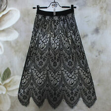Lady Floral Lace Half Slip Under Dress Hollow Out Underskirt Petticoat 77cm New