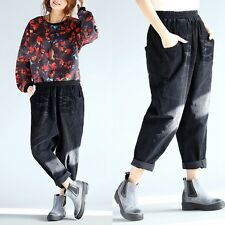 Ladies Mens Corduroy Harem Trousers Baggy Loose Cropped Pants Oversize Plus Size