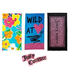 JUICY COUTURE Large Beach Bath Pool Bright Fashion Towel Supersoft Velour -