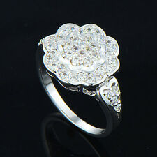 Vintage womens white gold Plate sunflower crystal love ring size 6 7 8 9 lots