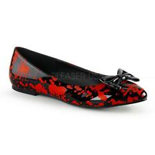 Funtasma Vail-20BL Black Blood Flat Bow Shoes - Costume,Fancy Dress,Shoes,Black,