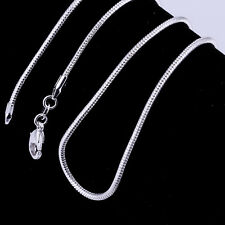 2mm 925 Silver Charm Long Snake Necklace 16-24inch Lobster Clasp Shiny
