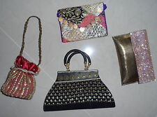 Gold Black Pink Beaded Embroidered Clutch Pouch Baguette Wedding Purse Bag