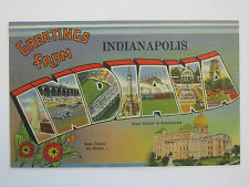 """*Large Letter Linen Era """"Greetings from Indianapolis INDIANA"""" Vintage Postcard"""