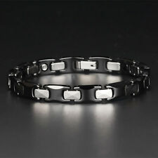 Black Ceramic Tungsten Carbide Magnetic Therapy Hematite Link Couple Bracelet