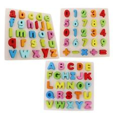 Colourful Alphabet Letters Numbers Wooden Jigsaw Puzzles Learn Pre-school Toys
