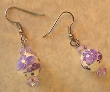 Purple & White Flower Ceramic & Lavender Glass Bead Earring Set