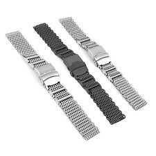 Luxury 20-24mm Shark Bracelet Double Clasp Watch Milanese Co H-Link Mesh Band