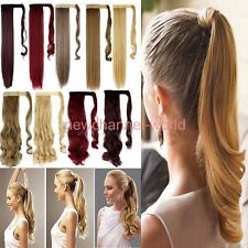 US Seller 100% Real Clip In human Hair Extension Pony Tail Wrap Around Ponytail