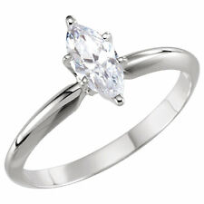 CZ Cubic Zirconia Marquise Solitaire Ring .25, .50, and .75 Carats 14k Gold