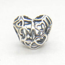 Mother's day gift Genuine S925 Sterling Silver Openwork Mum Love Heart Charm