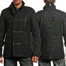 Affliction Bassline 110OW070 Skull Military Mens Wool Blend Pea Coat Black SMALL