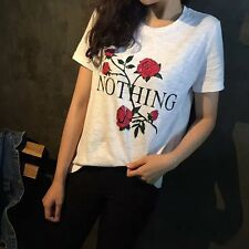 New Fashion Women Lady Loose Short Sleeve Top Blouse Shirt Casual Cotton T-Shirt