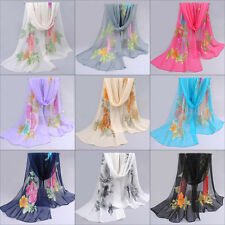 Ladies Long Wrap Soft Shawl Scarf Summer Thin Floral Wrap Lady Chiffon Scarves