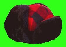 Trapper / Trooper / Bomber / Aviator Ear-flap Red / Black Plaid Wool Winter Hat