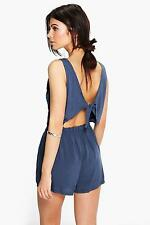 NEW Boohoo Womens Helen Tie Back Relaxed Fit Playsuit in
