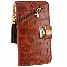 Luxury Brown PU Leather Zipper Flip Wallet Purse Case Card Holder for iPhone 7 6