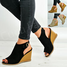 Womens Ankle Strap Wedges Ladies Peep Toe High Heels Casual Summer Shoes Size