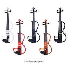 ammoon Full Size 4/4 Silent Electric Violin Solid Wood with Hard Case Tuner I8S9