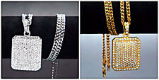 Men's Iced Out CZ Gold or Silver Dog Tag Pendant  Cuban Curb Chain Necklace