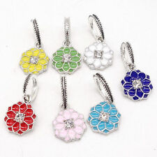 3pcs silver Flowers European Charm Beads Fit Necklace Bracelet jewelry #1