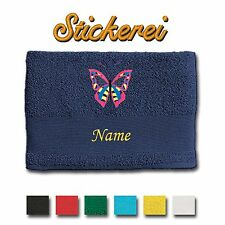 Towel Shower Towel Bath Towel embroidered Embroidery Butterfly + Name