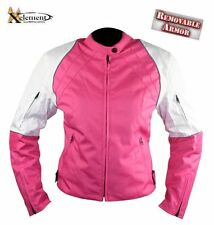 Women's Pink and White Armored Tri-Tex Motorcycle Jacket size XL