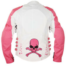 Xelement Women's Skull and Stars White/Pink Tri-Tex Armored Motorcycle Jacket XL