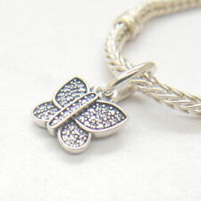 Genuine Authentic S925 Sterling Silver Sparkling Butterfly CZ Pendant Charm