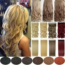 UK Extra THICK Clip In Real Thick Hair Extensions Half Full Head Natural Piece