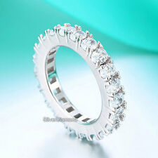 Fine 925 Sterling Silver Oval Cut Eternity Ring Wedding Band Simulated Diamond