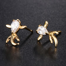 New Womens Yellow gold filled Goldfish crystal Stud Earrings Attractive
