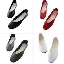 Women Casual Shallow Oxfords PU Leather Slip On Square Toe Shoes Flats Size 5-9