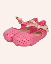 New Girl Mini Melissa Furadinha Girls PVC Perforated Bow Tie Mary Jane Flat