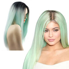 Fashion long Straight Women Wig Cosplay Party Costume Anime Hair  Green Grey