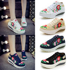 Women Casual Canvas Sneakers Shoes Low Wedge Platform Athletic Trainer Shoes