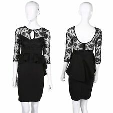New Ladies Womens Dress Black Midi Bodycon Party Stretch Lace Celeb Long NR