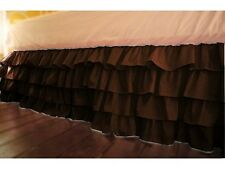 "1 Qty Multi Ruffle Bed Skirt Egyptian Cotton 1000TC Drop 15"" Chocolate Solid"