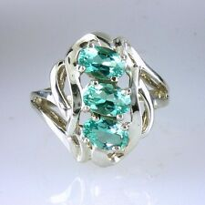 Genuine Sea Blue - Green  Madagascar Apatite Ring 925 Sterling Silver