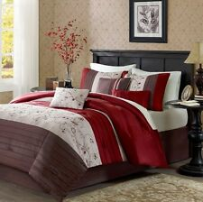 Bedding Queen or King Size Bedspreads Comforter Set Red Brown Luxury Bed Linens
