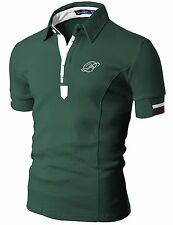 089D Doublju Mens Casual Polo Short Sleeve T-shirt GREEN ASIAN /US L