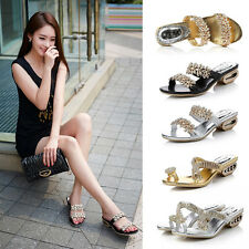 Women Lady Rhinestone Crystal Casual Low Heel Shoes Slippers Flip Flops Sandals
