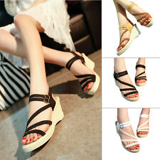Women Lady Open Toe Platform Ankle Strap Wedge Heels Solid Casual Sandals Shoes