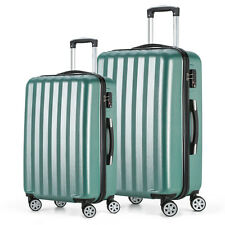 Travel Luggage 4 Wheels Cabin ABS Hard Shell Trolley Suitcase Green 20 24inch