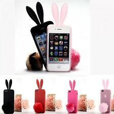 iPhone 5S Case Silicon Rubber Cute Bunny Rabbit Ears Tail Back Cover For Apple
