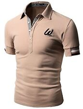 076D-TAUPE-4 Doublju Men Contemporary Regular Fit Embroidered Logo Polo