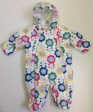 Ex M& S Baby Girls Cream Floral Flower Snowsuit All in One Age 3 6 9 12 18 £22