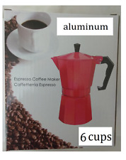 Stove Top Coffee Maker Espresso Cuban 3/6 Cup Aluminum Red Cafetera Cubana Roja